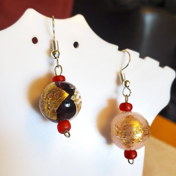 Silver Tone Hook Round Glass Bead Dangle Earrings